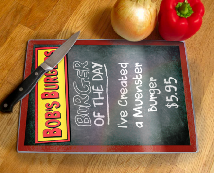 Bobs Burger Burger of The Day Menu Board Tempered Glass Chopping Board